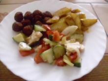 Frikadellen mit Minze ~ Kartoffelspalten ~ gr. Salat ( siehe Kb) - Rezept