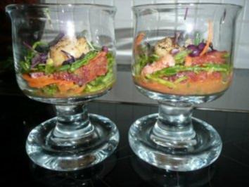 GLASFOOD 9 /FISCH:Wakame Algensalat mit Jakobsmuscheln und Blutorangenfilets - Rezept