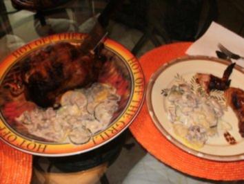 Gemuesse- Pilze Zucchini Stroganoff - mit Amerikanischem  BBQ vom Grill Huhn oder Steak - Ich servierte Huhn damit - Rezept
