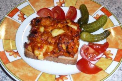 Snack: Hähnchenbrust geschnetzelt auf Toast - Rezept
