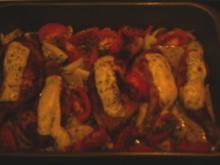 Hühnerschenkel überbacken, mit Tomaten u. Ingwer - Rezept