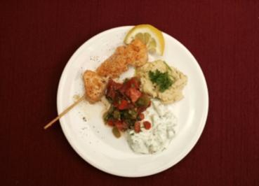 Paprika-Tomaten-Salat, Marokkanische Lachsspieße, Joghurt a la Arabia (Gitta Saxx) - Rezept