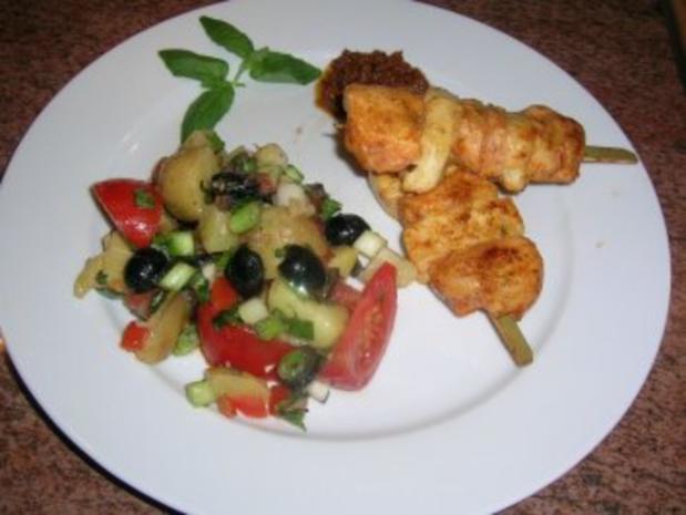 Filetspieße mit Tofu und sardischem Kartoffelsalat   (sehr frisch und lecker) schnell zubereitet - Rezept - Bild Nr. 3