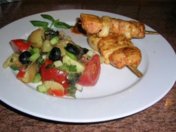 Filetspieße mit Tofu und sardischem Kartoffelsalat   (sehr frisch und lecker) schnell zubereitet - Rezept - Bild Nr. 2