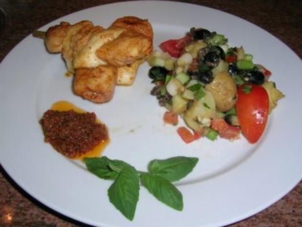 Filetspieße mit Tofu und sardischem Kartoffelsalat   (sehr frisch und lecker) schnell zubereitet - Rezept - Bild Nr. 4