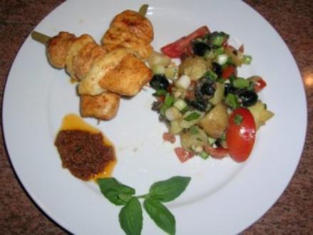 Filetspieße mit Tofu und sardischem Kartoffelsalat   (sehr frisch und lecker) schnell zubereitet - Rezept