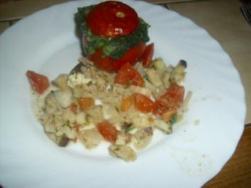 Ofen-Tomate und Aubergine mit Spinat und Schafskäse - Rezept