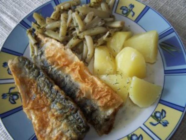 Makrelenfiles mit Butterbohnen und Dillsahnesoße - Rezept
