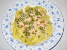 Tortellini  mit Lachs - Erbsen - Sahne  Soße - Rezept