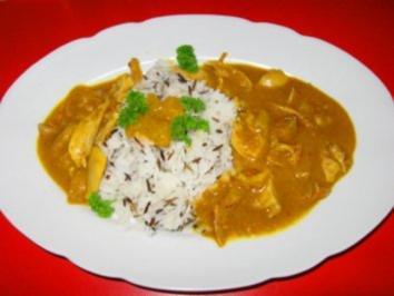 Kokos-Curry-Hühnchen mit Mango=indisch - Rezept