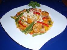Chilimaultaschen mit buntem Gemüse - Rezept