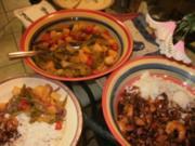 Shrimps mit Huhnfleisch- Fleisch Reste mit Gemuese und Reis und Sosse - 180 Kalorien -Fettarm - Rezept