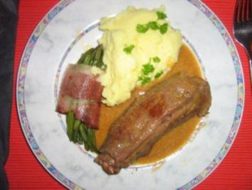 Rinderroulade klassisch mit Prinzeßbohnenpäckchen und  Püree - Rezept
