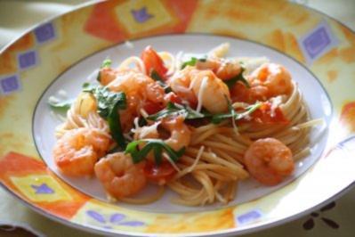 Rezept: Garnelen - Rucola - Spaghetti