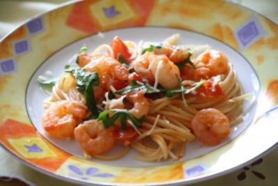 Garnelen - Rucola - Spaghetti - Rezept