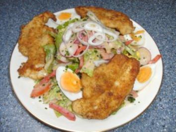Salatteller mit Hähnchenschnitzel - Rezept
