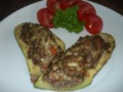 Gemüse:   ZUCCHINI   mit  HACKFÜLLUNG - Rezept