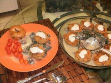 Krabben: Sued Staaten - Amerikanische  Krabben - Kuecheln mit Spinat Bett - Rezept