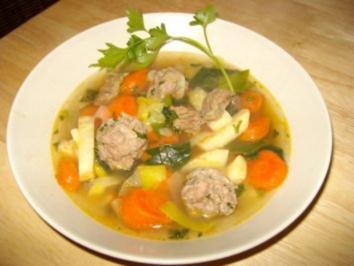 Gemüsesuppe mit Rindfleisch & Hackbällchen - Rezept