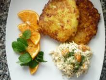 Parmesan-Panchetta-Reibekuchen an Spitzkohl-Kumquats-Salat - Rezept