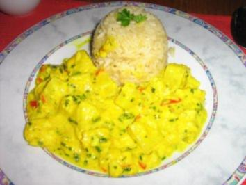 Pangasiusragout mit Ananas in einer Kräuter-Currysoße an Langkornreis - Rezept