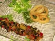 Tintenfischringen mit sonnigen Gemüse. - Rezept