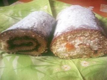 Torte: Biskuitrolle mit Topfen-Sahne-Füllung oder mit Marmelade - Rezept