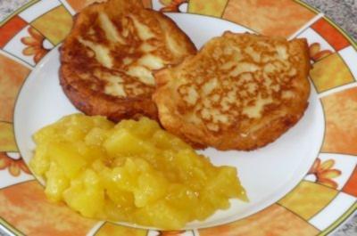 Quark - Kartoffelpuffer mit Orangen - Apfelkompott - Rezept