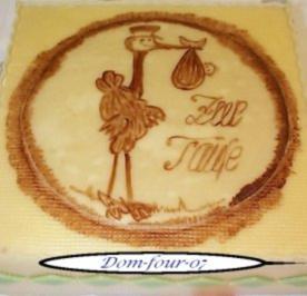 Rezept: Kakaomalerei auf Marzipan zur Taufe