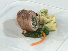 Roulade vom Gnu mit Cognacrahm mit Spinatgnocchi á la Zacherl - Rezept