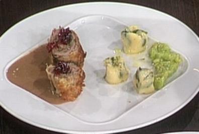 Roulade vom Gnu mit Cognacrahm und Spinat-Gnocchi (Katy Karrenbauer) - Rezept