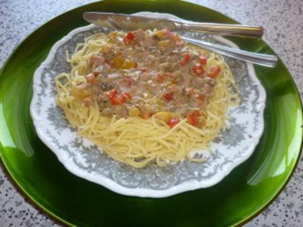 Spaghetti mit getrockneten  Steinpilzen und Paprika - Rezept