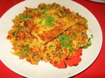 Gemüse-Couscous mit gebackenem Fischfilet - Rezept