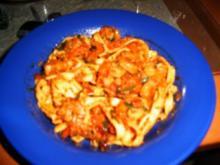 Tagliatelle mit Shrimps in Tomatenpesto - Rezept