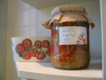 Eingelegtes, süß + sauer: Zucchini, mit bunten Paprika und Peperoni - Rezept