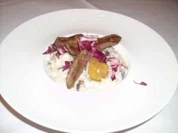 Gorgonzolarisotto mit Radicchio und Lammfilet - Rezept