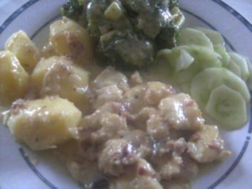 Pangasius in Curry-Sahne ,,, Brokoli und  Salzkartoffeln    , ich wollte mal eine andere Variante probieren. - Rezept