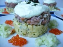 Lachstartar auf Kartoffeltörtchen - Rezept
