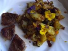 Topinambur-Kürbis-Broccoli-Gemüse mit Stiefmütterchen - Rezept