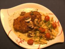 Fleisch: Champignonschnitzel mit Kressesoße - Rezept