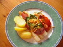 Spargel im Spinat-Käse-Mantel - Rezept
