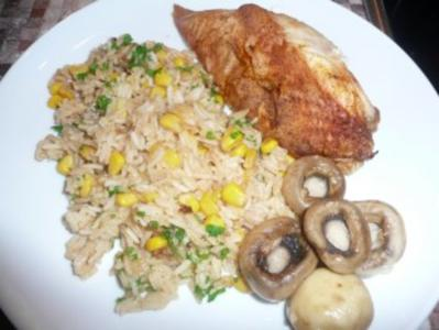 Crispy and Spicy Chicken with Rice - Rezept