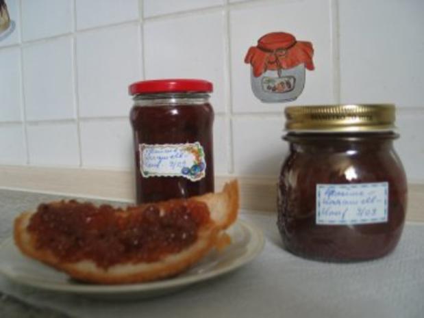 marmeladen gelees pflaumenmarmelade mit karamellisierten mandelbl ttchen rezept. Black Bedroom Furniture Sets. Home Design Ideas