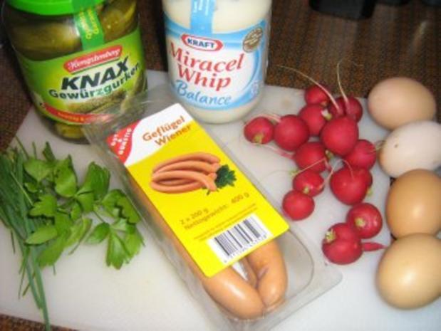 Eier-Radieschensalat mit Geflügelwienerle - Rezept - Bild Nr. 2