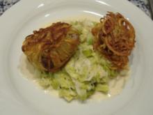 Medaillons vom Kalbsfilet,in der Kartoffelkruste gebraten,auf Lauchspiegel - Rezept