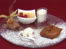 Apfelküchlein, Walnusseis mit Amaretto, Mousse au Chocolat, Crème Brulée und Pina Colada Espuma (Gracia Baur) - Rezept
