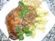 Orangige Gänsekeulen mit Maronen-Dattelsauce an Salzkartoffeln - Rezept