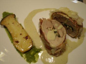Schweinefilet gefüllt , mit Selleriesoße und  Kräutersaitlingen - Rezept