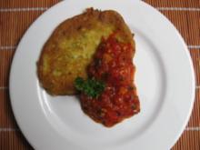 Zucchini - Käse - Küchlein mit feurigem Tomatendip - Rezept