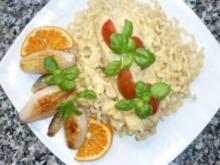 Lachs mit Orangen- Ziegenkäserahm an Fussili Lunghi und Pernod-Schalotten - Rezept